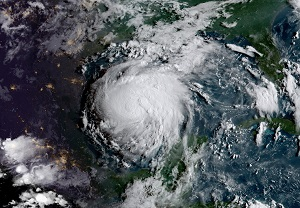 Satellite photo of Hurricane Harvey making landfall in the US.