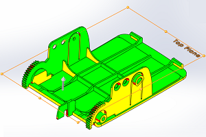 A SolidWords CAD file for a plastic injection mold part.