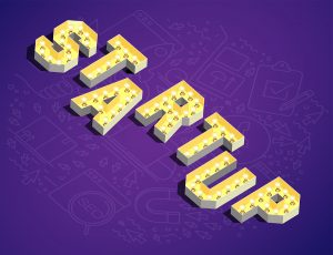 Startup in yellow 3D text with light bulbs on purple backdrop.