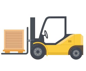 Yellow forklift with box.