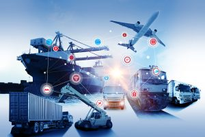 Collection of various logistics vehicles (trucks, trains, planes, and cargo boats) with icon nodes and lines representing a supply chain.