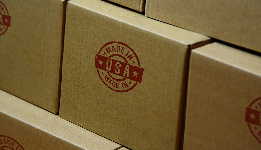 "Shipping boxes stamped with a red ""Made in USA' stamp"
